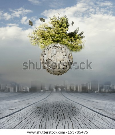A conceptual beautiful surrealistic background representing a new world  - stock photo