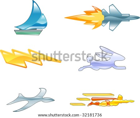 A conceptual icon set relating to speed, being fast, and or efficient. - stock photo
