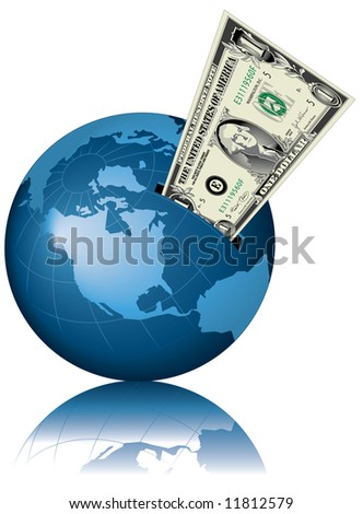 A conceptual illustration of the globe as a giant money box with a dollar bill in the slot. - stock photo