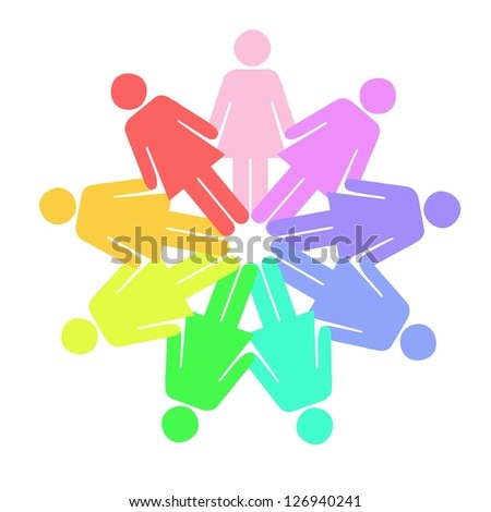 A conceptual illustration using people figures in a circle - stock photo