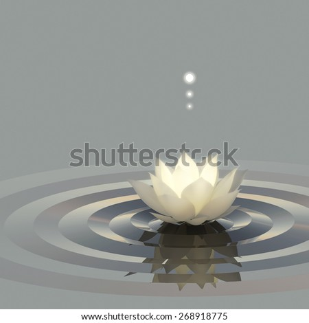 A conceptual image of lotus or water lily on the water emitting light. - stock photo