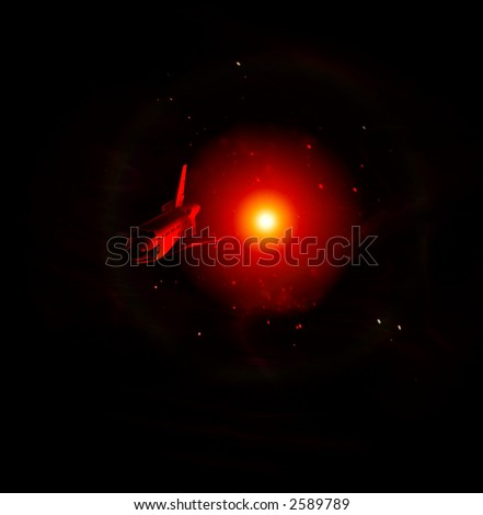 A conceptual image of spacecraft flying away from a sun in space. - stock photo