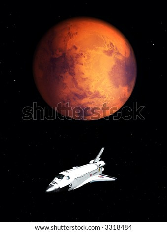 A conceptual image of spacecraft flying next to Mars. - stock photo