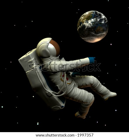 A conceptual image of spaceman or astronaut floating in space.