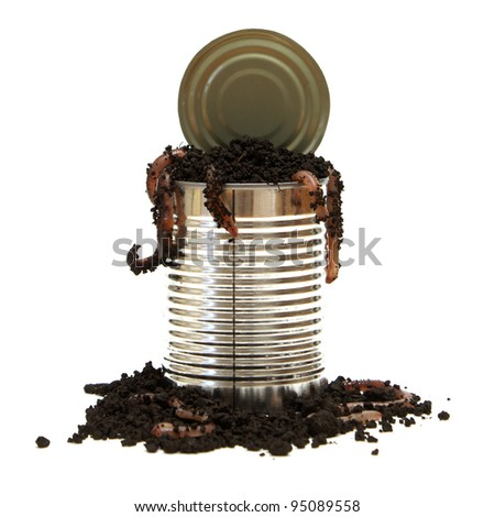 A conceptual image relating to the saying opening a can of worms. - stock photo