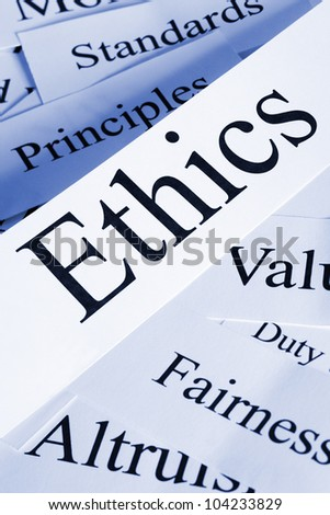 A conceptual look at ethics and related subjects. - stock photo