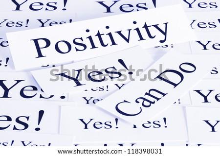 A conceptual look at positivity, can do, attitude. - stock photo