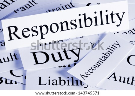 A conceptual look at responsibility, Duty, Accountability, Liability - stock photo