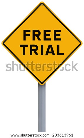 A conceptual road sign indicating Free Trial