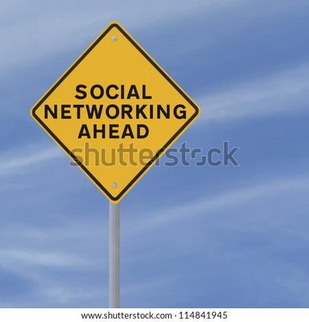 A conceptual road sign on social networking (against a blue sky background)