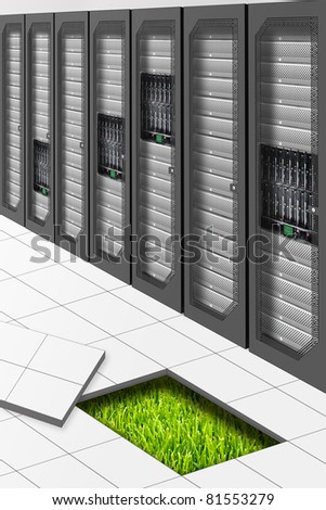 A Conceptual vision of a Datacenter energetically Efficient - stock photo