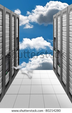 A Conceptual vision of a Datacenter on the cloud (Cloud Computing) - stock photo