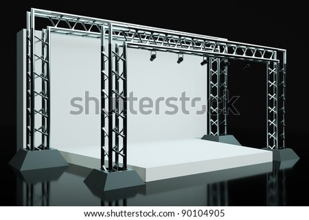 a concert stage with metal frame - stock photo