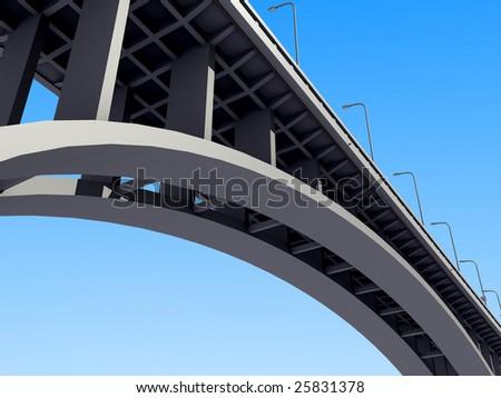 A concrete arch bridge against the sky - stock photo