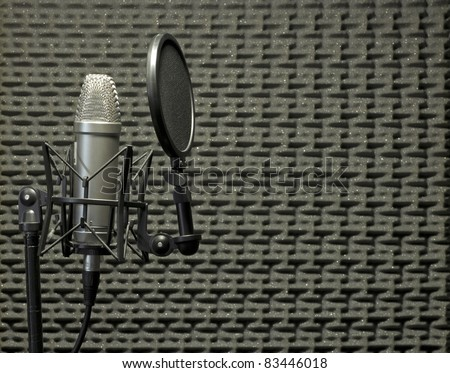 A condenser microphone with shock mount and pop shield inside a booth with acoustic panels on the background