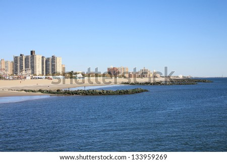 A Coney island view in winter time, New York City, USA