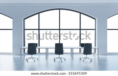 A conference room in a modern panoramic office with white copy space in windows. White table and black chairs. 3D rendering.