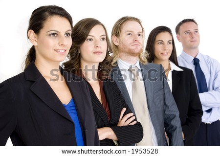 A confident business team looking to the future (on white background)