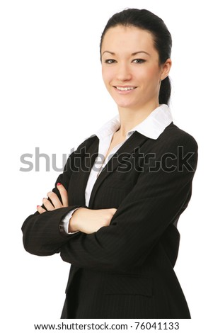 A confident businesswoman on white, side-view - stock photo