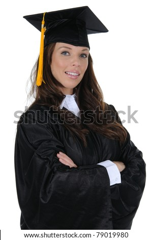 A confident woman graduate wearing a black cap and gown with gold tassel, isolated on a solid white background.