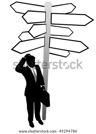 A confused business man searches decision directions signs to find a solution.
