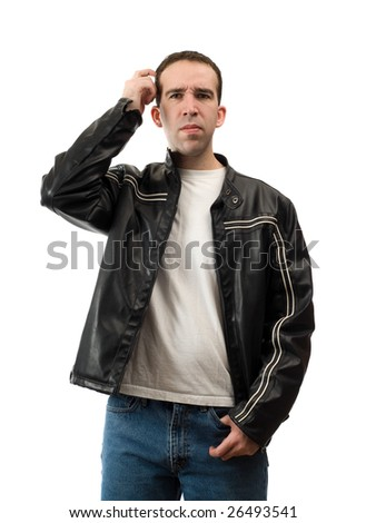 A confused young man is scratching his head, isolated against a white background