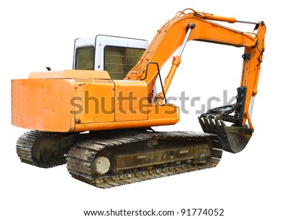 A construction Excavator used for excavating of trees debris and anything else needed isolated on white with room for your text. - stock photo
