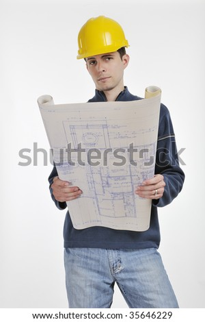 A Construction Foreman with blue prints isolated on white