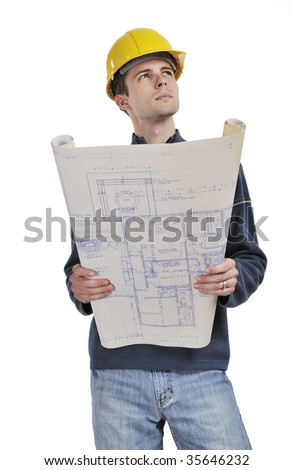 A Construction Foreman with blue prints isolated on white - stock photo