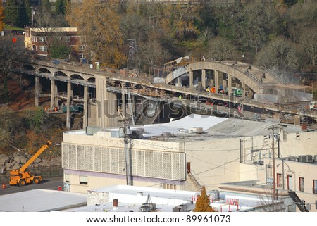 A construction of a new bridge in Oregon city OR. - stock photo