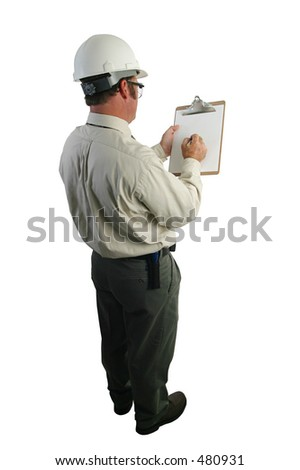 A construction safety inspector marking his checklist - full view - isolated