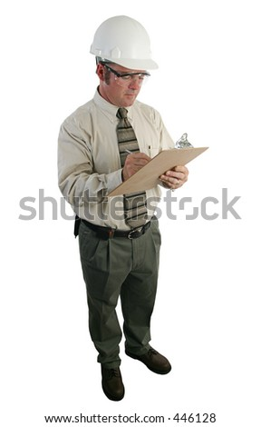 a construction safety inspector  reviewing a list - full view isolated - stock photo