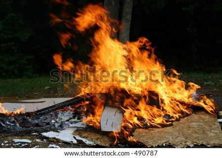 A construction site fire - stock photo