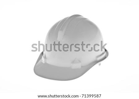 A construction worker hard hat isolated against a white background - stock photo