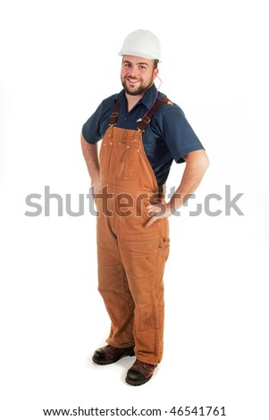 a construction worker looking at the camera isolated - stock photo