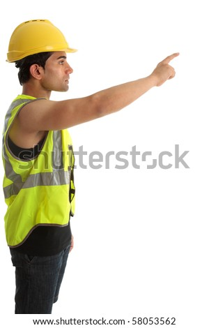 A construction worker or builder with arm outstretched and pointing.  White background.  Suitable for your message. - stock photo