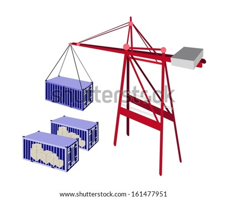 A Container Crane Lifting A Blue Freight Container from Stack To A Ship, Container Crane Is A Heavy Machine for Loading and Unloading Container from Container Ship.  - stock photo