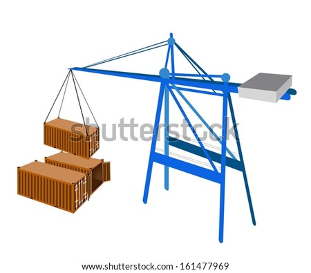 A Container Crane Lifting An Orange Freight Container from Stack To A Ship, Container Crane Is A Heavy Machine for Loading and Unloading Container from Container Ship.  - stock photo