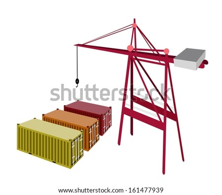 A Container Crane with Three Freight Container, Container Crane Is A Heavy Machine for Loading and Unloading Container from Container Ship.  - stock photo