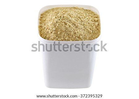 A container full of stock booster powder, Beef flavored seasoning with dried vegetable for marinading and making soup