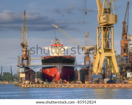 A container is being unloaded - stock photo