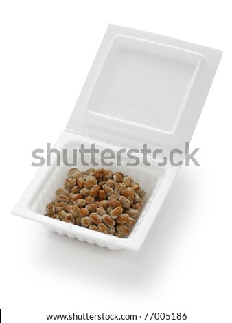 a container of natto(fermented soy beans) , japanese food - stock photo