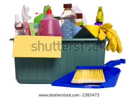 A container with all the items needed for the daily chore of cleaning house - stock photo