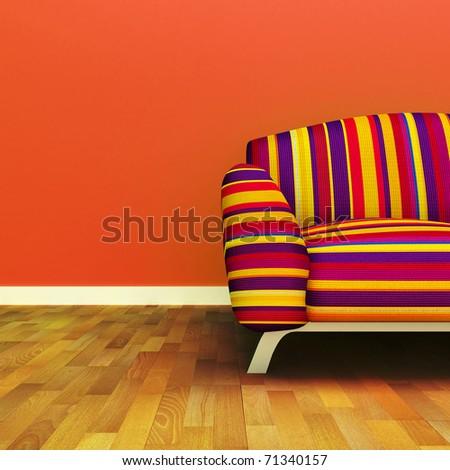 A contemporary colorful sofa - stock photo