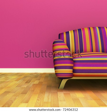 A contemporary colorful sofa in an interior.