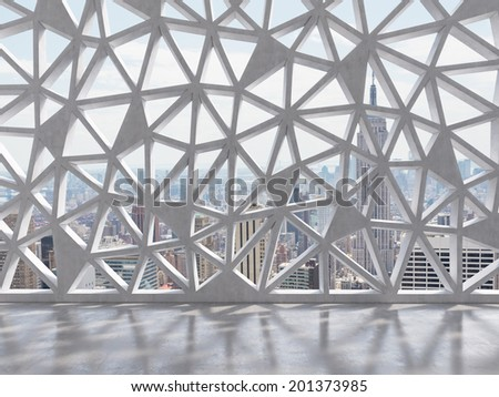 A contemporary decorative wall with triangle holes and an amazing panoramic city view. - stock photo