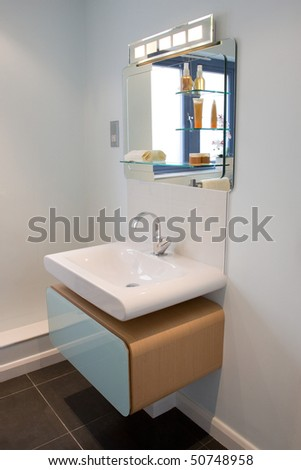 A contemporary designer ensuite in a new property development - stock photo