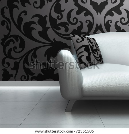 A contemporary luxury sofa in an interior. - stock photo