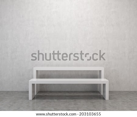 A contemporary white bench and table in an empty room.