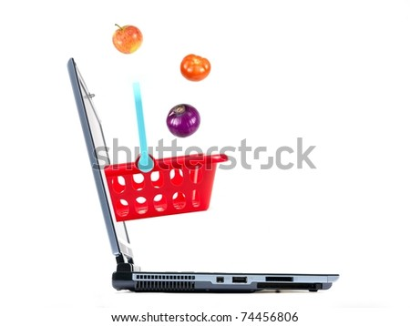 A contempory photo of shopping on line - stock photo